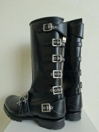 black means  Leather Strap Boots・ブラック