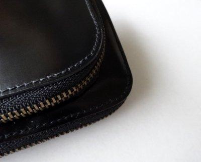 画像4: ebagos  エバゴス  ガラスレザー口金ファスナー財布 ブラック