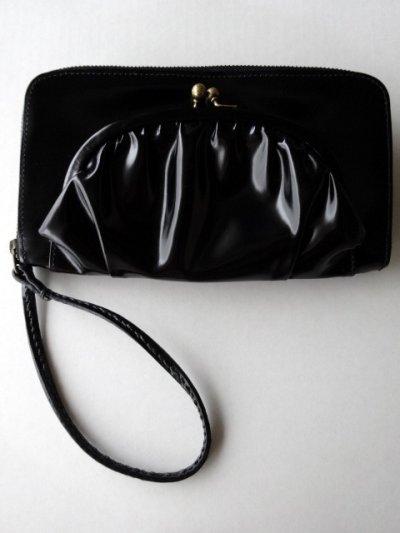 画像1: ebagos  エバゴス  ガラスレザー口金ファスナー財布 ブラック