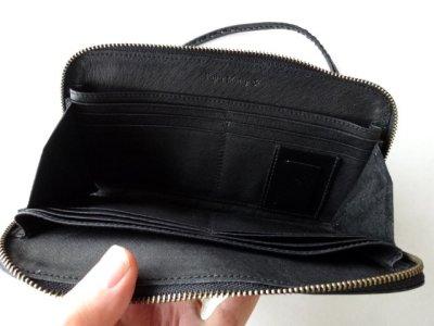 画像2: ebagos  エバゴス  ガラスレザー口金ファスナー財布 ブラック