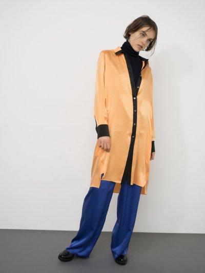画像1: TOKIKO MURAKAMI       トキコ ムラカミ シャツドレス・オレンジ×ブラック