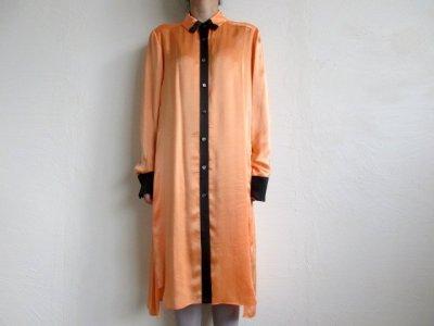 画像2: TOKIKO MURAKAMI       トキコ ムラカミ シャツドレス・オレンジ×ブラック