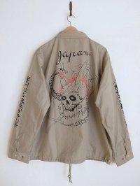 black means  般若心経oni_skull coach jacket・ベージュ