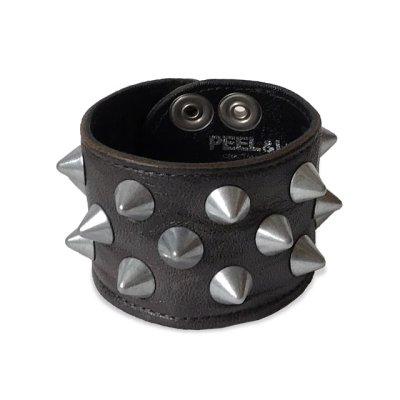画像1: PEEL&LIFT        2 x 1 row conical wristband スタッズリストバンド