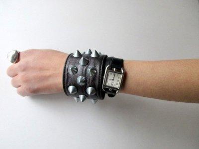 画像2: PEEL&LIFT        2 x 1 row conical wristband スタッズリストバンド