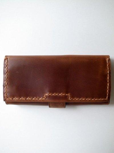 画像1: ebagos  エバゴス  カーフレザーステッチ長財布