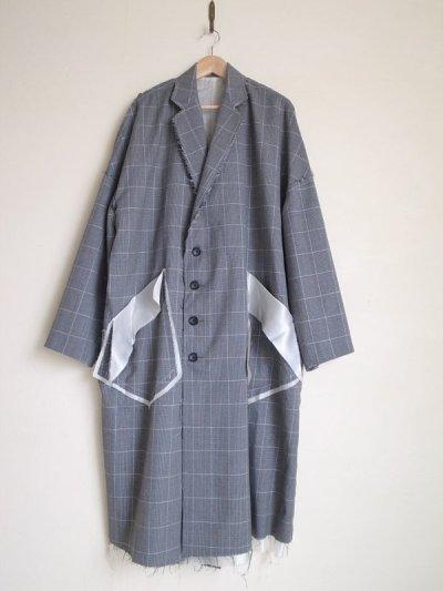 """画像1: sulvam       サルバム """"Over coat""""グレンチェックオーバーサイズコート"""