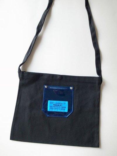 画像2: PEEL&LIFT        PVC pocket canvas sacoche サコッシュ・ブラック×ブルー