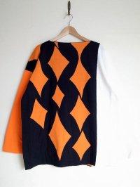 """sulvam       サルバム  """"school argyle knit""""アーガイルスリットニット・ブラック×オレンジ"""