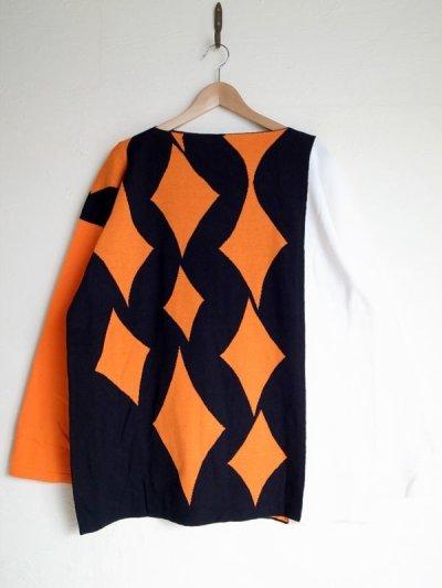 """画像1: sulvam       サルバム  """"school argyle knit""""アーガイルスリットニット・ブラック×オレンジ"""