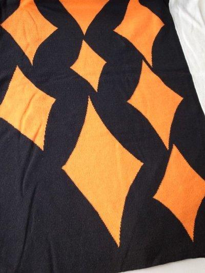 """画像2: sulvam       サルバム  """"school argyle knit""""アーガイルスリットニット・ブラック×オレンジ"""