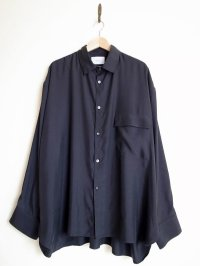stein       OVERSIZED CUPRO DOWN PAT SHIRT・BLACK