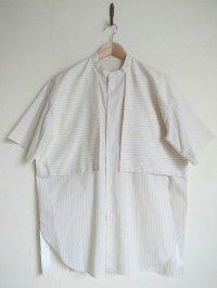 Dulcamara      Sスリーブガンフラップシャツ ストライプ