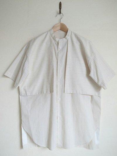 画像1: Dulcamara      Sスリーブガンフラップシャツ ストライプ