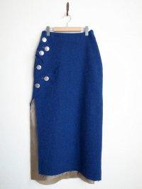 "sulvam       サルバム ""break long skirt""ウールコンチョ付スカート"
