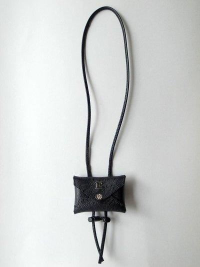 画像1: ebagos  エバゴス  型押しキップレザーフウトウバッグチャーム・ブラック