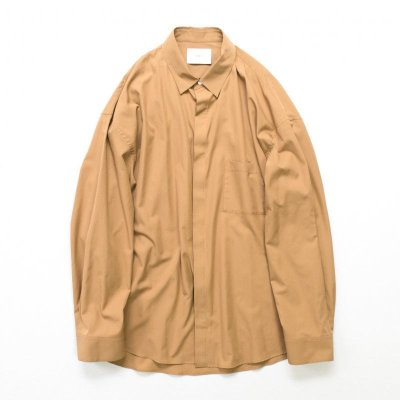 画像1: stein       FLY FRONT SLEEVE OVERSIZED SHIRT・CAMEL