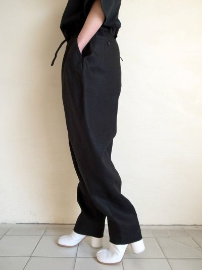 画像2: SOSHI OTSUKI       ソウシオオツキ OFFICER TROUSERS LINEN・BLACK