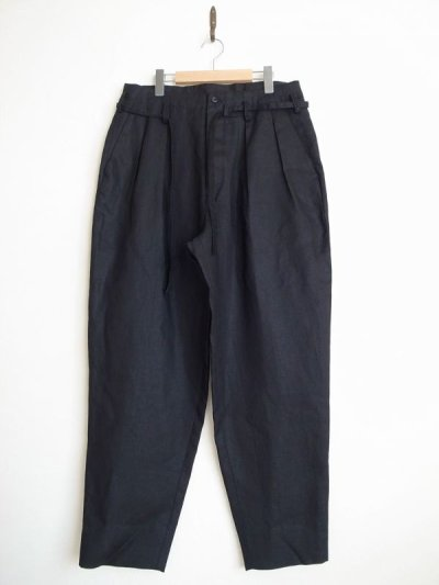 画像1: SOSHI OTSUKI       ソウシオオツキ OFFICER TROUSERS LINEN・BLACK