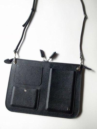 画像1: ebagos  エバゴス  型押しキップレザーポケットバッグ・ブラック
