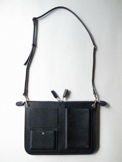 画像2: ebagos  エバゴス  型押しキップレザーポケットバッグ・ブラック