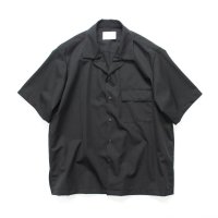stein       WOOL GABADINE DOWN PATTERN SS SHIRT・BLACK