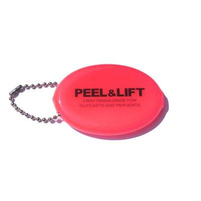 画像1: PEEL&LIFT         vinyl coin holder ロゴ入りコインケース・ネオンピンク