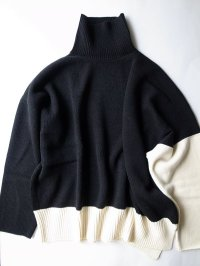"sulvam       サルバム ""high neck by color knit""バイカラーハイネックニット"