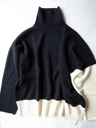 """画像1: sulvam       サルバム """"high neck by color knit""""バイカラーハイネックニット"""