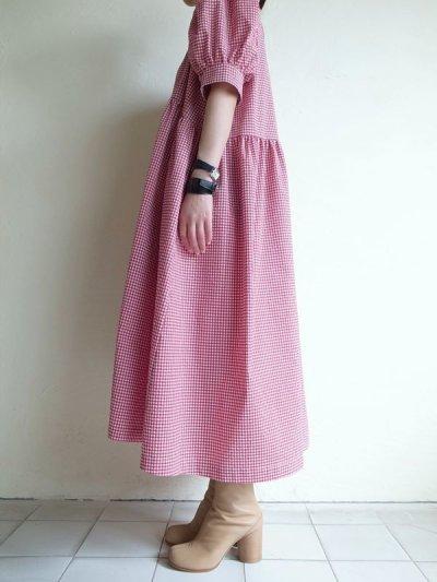画像2: naokitomizuka       パフスリーブドレス ギンガムチェック・レッド×ホワイト