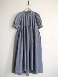 naokitomizuka       パフスリーブドレス ギンガムチェック・ブラック×ホワイト