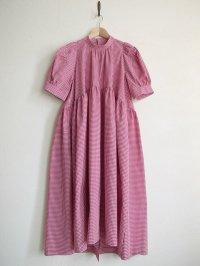 naokitomizuka       パフスリーブドレス ギンガムチェック・レッド×ホワイト