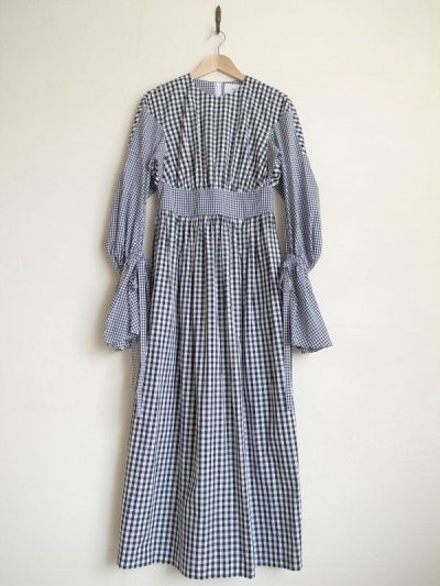 画像1: naokitomizuka       スリットスリーブドレス ギンガムチェック・ブラック×ホワイト