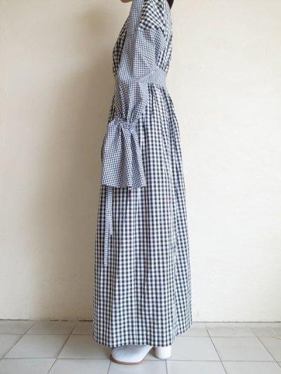 画像2: naokitomizuka       スリットスリーブドレス ギンガムチェック・ブラック×ホワイト