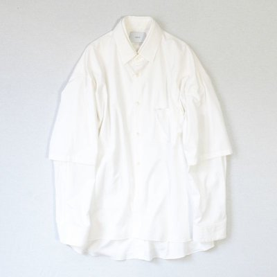 画像1: stein       OVERSIZED DOUBLE SLEEVE SHIRT・WHITE