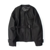 stein       NO COLLAR BELTED JACKET・BLACK