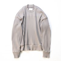 stein       PLEATED KNIT CREW NECK LS ・GREIGE