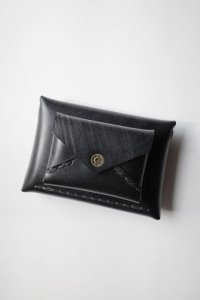 ebagos  エバゴス  ブライドルレザーWフウトウ型財布・ブラック