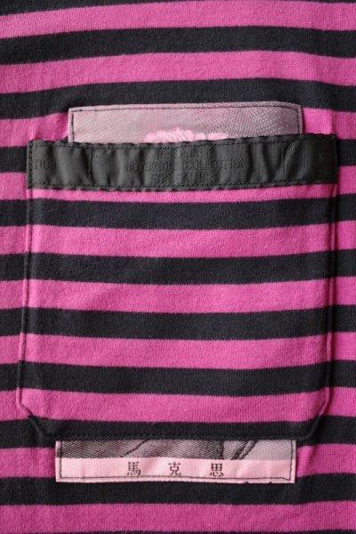 画像2: PEEL&LIFT        stripe marx pocket tee shirt マルクスパッチポケット付ボーダーTシャツ・ピンクxブラック
