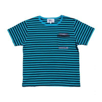画像1: PEEL&LIFT        stripe marx pocket tee shirt マルクスパッチポケット付ボーダーTシャツ・ブルーxブラック