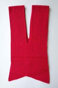 "sulvam       サルバム ""slach knit scarf""スリット入りニットスカーフ・レッド"