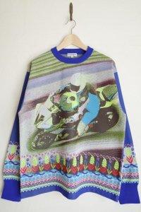 WATARU TOMINAGA       polyester knit sweater・blue yellow