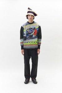 WATARU TOMINAGA       polyester knit sweater・black red